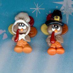 Pilgrim Turkeys Polymer Clay Bow Centers, Beads, Pendants