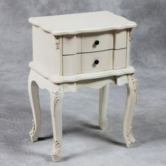 Cream Square 2 Drawer French Style Bedside