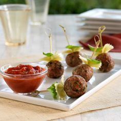 Pasta with Meatballs On A Stick - just use organic ingredients and organic whole wheat pasta! Easy Peasy!