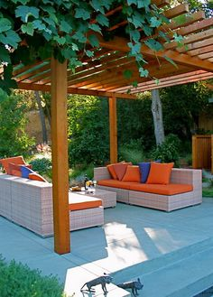 Cushioned Outdoor Pergola System for Natural Scenes: Amazing Garden Architecture Robert Trachtenberg Modern Patio Design With Soft Blue Colo. Modern Pergola Designs, Modern Landscape Design, Modern Landscaping, Modern Design, Landscaping Trees, Pergola Diy, Pergola Shade, Gazebo, Pergola Ideas