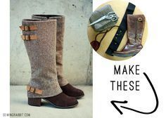 MAKE THESE: Boot Spats DIY (shows how to make a muslin over the boots you already own) Sewing Hacks, Sewing Tutorials, Sewing Crafts, Sewing Projects, Sewing Patterns, Sewing Diy, Craft Projects, Steampunk Costume, Steampunk Diy