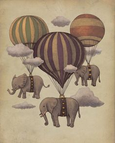 elephant, elephants, hot air balloon, illustration, russian, vintage