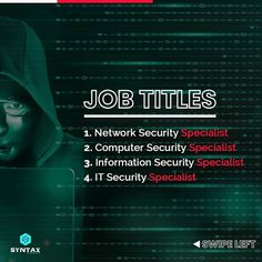 Almost every company in the world today requires CyberSecurity experts to build & protect systems to mitigate catastrophic cyber threats.😈 However, not many people are aware of the roadmap to follow to establish a career in CyberSecurity. Let us find out in this post. #cybersecurity #ethicalhacker #ethicalhackers #ethicalhacking #ethicalhackerintraining #cybersecuritytraining #cybersecuritycourse #cybersecuritytips #cybersecurityawareness #cybersecuritynews #syntaxtechnologies #syntaxtechs Cyber Security Course, Cyber Security Awareness, Cyber Security Certifications, Security Training, Cyber Threat, Computer Security, Marketing Jobs, Job Title, Training Courses