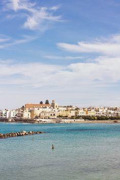 bright blue sea in the bay harbour of otranto puglia italy
