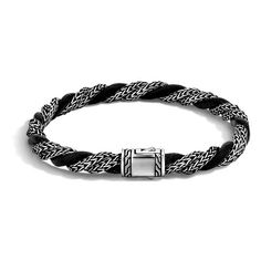 John Hardy Classic Chain Silver & Leather Cord Twisted Bracelet ($395) ❤ liked on Polyvore featuring jewelry, bracelets, black jewelry, twisted silver jewelry, bracelet bangle, black bracelet and silver jewelry