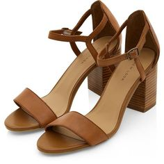 Tan Leather Ankle Strap Block Heel Sandals (£25) ❤ liked on Polyvore