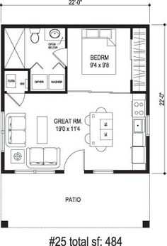Granny pods floor plans New apartment studio layout floor plans granny flat ideas Guest House Plans, Small House Plans, House Floor Plans, Guest Cottage Plans, Studio Floor Plans, Tiny Home Floor Plans, Micro House Plans, 1 Bedroom House Plans, Small House Layout