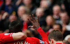 Credit: Tom Jenkins The fingers say it all as Aly Cissokho signals the fifth goal to home fans