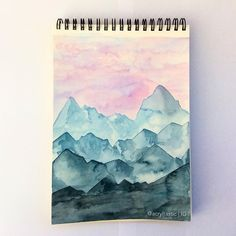 I am a man - - Aquarell Malen Watercolor Art Lessons, Watercolor Art Diy, Watercolor Art Paintings, Art Inspo, Inspiration Art, Art Amour, Mountain Paintings, Landscape Art, Landscape Lighting