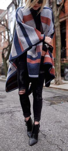 #street #style fall / poncho