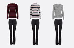 Klassiska svarta jeans på tre sätt