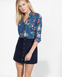 slim fit floral cluster print portofino shirt- love the top