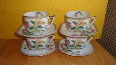 OCCUPIED JAPAN PORCELAIN  SQUARE TEA CUPS SET OF FOUR WITH CHRYSANTHEMUMS