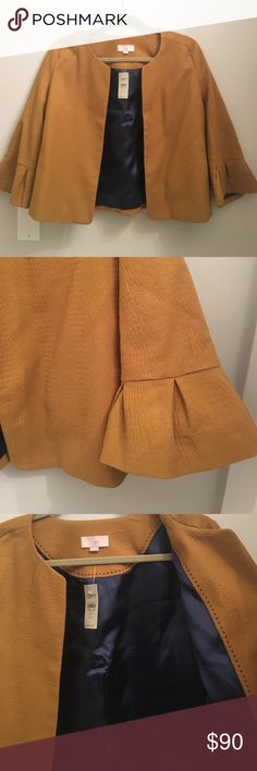 NWT Ann Taylor Loft Textured Swing Petite Jacket! Brand new, never worn Ann Taylor Loft swing style jacket in dark mustard color. Cute 3/4 length bell ruffle sleeves, pockets, round neck and full lining. Dry clean only. Very cute! Ann Taylor Loft Jackets & Coats Blazers