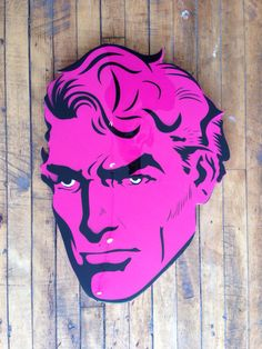 """Aquaman"" by Jason Rowland  Aerosol, stencil and poly resin coating on wood  Available at GalerieF.com"