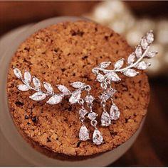 Women Fashion Asymmetric Silver Leaves Rhinestone Pendant Anti Allergy Earrings #Unbranded