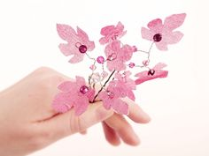 Fairy leaves hair-pins raspberry silk & Swarovski