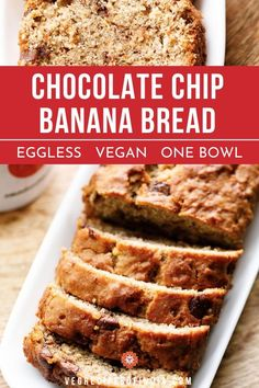 This moist and soft Chocolate Chip Banana Bread with gooey chocolate chips is a delight to have. The recipe is a simple one bowl, eggless, vegan baking recipe for a quick sweet banana bread and that too with whole wheat flour. Whole Wheat Banana Bread, Vegan Banana Bread, Chocolate Chip Banana Bread, Semi Sweet Chocolate Chips, Chocolate Chip Recipes, Banana Bread Recipes, Vegan Baking Recipes, Vegetarian Recipes, Vegan Milk
