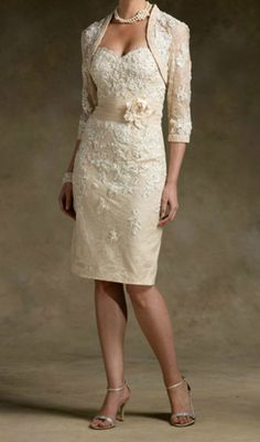 New Champagne Short Lace Wedding Mother of The Bride Dress Free Jacket Custom | eBay
