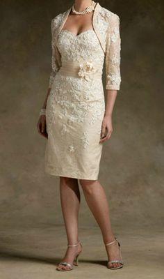 New Champagne Short Lace Wedding Mother of The Bride Dress Free Jacket Custom | eBay