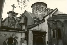 The Armenian Cathedral, an ensemble of old and new dating to 1363 in Lviv's old town. January 1998.
