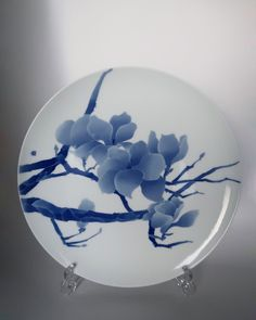 Items similar to Handmade in Jingdezhen Blue and White Painted Porcelain Display Collectable Plate - Mengya Zhang on Etsy Chinese Design, Chinese Style, Traditional Chinese, Tea Canisters, Tea Caddy, Painted Porcelain, Ceramic Painting, Ceramic Plates, Artisan