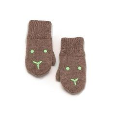 Bunny mittens in brown/green