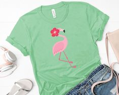 Summer Flamingo Tshirt For Women Great Back To School Shirt Flamingo Tshirt, School Shirts, Pink Flamingos, Flower Decorations, Cool T Shirts, Streetwear, T Shirts For Women, Make It Yourself, Trending Outfits