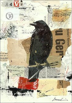 Print Art canvas best gift Collage Mixed Media Art by rcolo. Print Art canvas best gift Collage Mixed Media Art Painting Illustration Gift Raven Crow Autographed by artist Emanuel M. Collage Kunst, Collage Art Mixed Media, Mixed Media Painting, Mixed Media Artists, Mixed Media Journal, Mixed Media Canvas, Art And Illustration, Painting Illustrations, Artwork Paintings