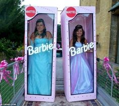 Barbie dolls Emily Pounde, pictured left, and Hannah Jagger, pictured right, arrive in life-sized packaging on the back of a trailer for their prom.
