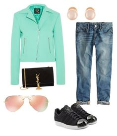 """casual Friday rep outfit"" by karanlyn on Polyvore featuring Ray-Ban, American Eagle Outfitters, McQ by Alexander McQueen, adidas Originals, Yves Saint Laurent, Kenneth Jay Lane, women's clothing, women, female and woman"
