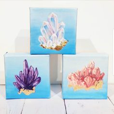 """These small petite gilded crystals will be at @hereapopupshop September 9th-18th. Each canvas is $30 and 3""""x3"""". Super cute just standing on your desk.  Keep your eyes peeled for more of these! I'll be opening up a new shop on my website on the 20th for original artwork. DM if you cant wait for your own gilded crystal and need one now!  #crystalart #gypsysoul #madewithmichaels"""