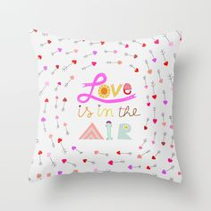 Throw Pillow Cover made of a fine blend of fabrics : 50% cotton and 50% polyester which gives this pillow case a soft and comfortable texture.  This listing features a double-sided print (front and back) of a fun design filled with heart shaped arrows and the words 'Love is in the air'.  The pe...