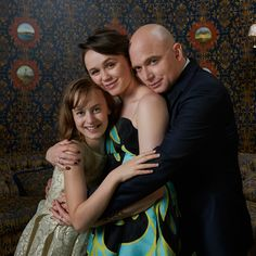 Sydney Lucas, Emily Skegg, and Michael Cerveris in the TodayTix Tony Awards photo lounge at the O&M after-party at The Carlyle. Photo by Amy Arbus.