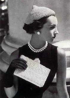 Classic pearl accessories . . (earrings,necklace and clutch) - a tad overkill with the beanie tho ;)