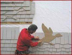 Shingle art tutorial on how to create a duck-shaped piece. http://www.jlconline.com/how-to/exteriors/more-shingle-art_o