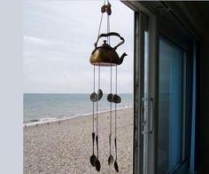 Vintage bronze teapot wind chime bivalves