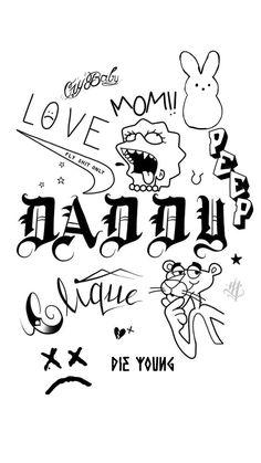 Kritzelei Tattoo, Grunge Tattoo, Doodle Tattoo, Indie Tattoo, Hipster Tattoo, Lil Peep Tattoos, Dope Tattoos, Tatoos, Tattoo Sketches