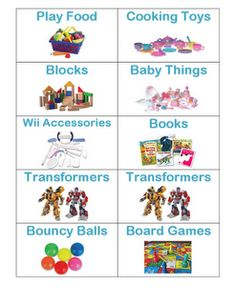 7 Best Images of Toy Organization Labels Printable - Free Printable Toy Labels, Free Printable Preschool Toy Labels and Free Printable Labels Toy Storage Toy Bin Labels, Toy Room Organization, Cooking Toys, Baby Toy Storage, Organizing Labels, Printable Organization, Organising, Toy Bins, Preschool Toys