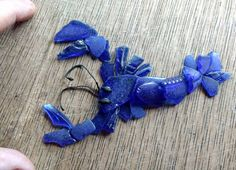 Maine Seaglass Cobalt Blue / LOBSTER SCULPTURE / One of a Kind / Handmade / Andrea Brand Art