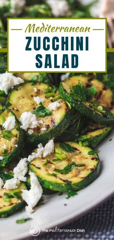 This is the recipe you want to use up all that garden zucchini! Try this Mediterranean Style Grilled Zucchini Salad for a light dinner or side dish to wow anyone! Mediterranean Salad Recipe, Easy Mediterranean Diet Recipes, Mediterranean Dishes, Mediterranean Style, Salad Recipes For Dinner, Healthy Salad Recipes, Vegetable Recipes, Vegetarian Recipes, Meal Recipes