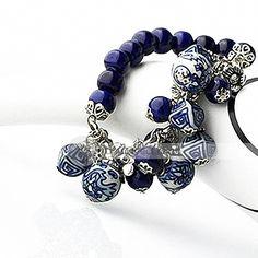 ✿ڿڰۣ(̆̃̃•Aussiegirl handmade blue and white porcelain bracelet
