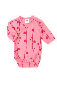 essential pink   long sleeve kimono bodysuit   berry  #katequinnorganics #modernbaby #organiclayette #organicbabyclothing #pink #girl