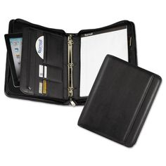 Professional Zippered Pad Holder/ring Binder, Pockets, Writing Pad, Vinyl Black
