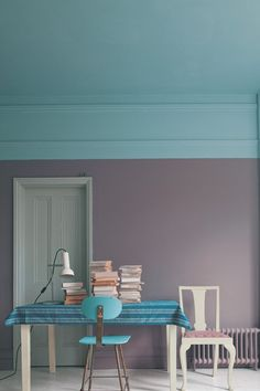 I love the idea of getting to use 2 colors in a room this way instead of with an accent wall. farrow & ball new paint colors Two Tone Walls, Half Walls, Trending Paint Colors, New Paint Colors, Wall Colors, Color Walls, Flur Design, Home Design, Design Blog