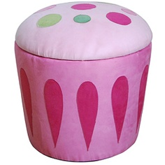 @Overstock - This cute storage ottoman will not only add a comfortable foot rest, but it will also provide additional organizational space your childs bedroom. Made of durable wood and fabric, this comfy ottoman resembles a large, pink cupcake. http://www.overstock.com/Home-Garden/Cupcake-Storage-Ottoman-Pink/6217444/product.html?CID=214117 CAD              88.50