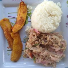 A typical lunch for students and staff at Young Living Academy... plantains, rice and tuna!