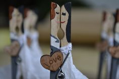 Wedding favors  painted clothespins with fabric by Perfectweak