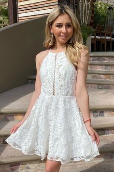 Discover every city you are in wearing the City Of Love White Lace Halter Skater Dress. This sexy embroidered lace dress has a high neckline, fitted bodice and a flirty skater skirt. Two panels of lace accent the halter cut out unique open back. White Cut Out Dress, Cute White Dress, Little White Dresses, White Lace, Dresser, Evening Dresses, Prom Dresses, Summer Fashions, Dress Cuts