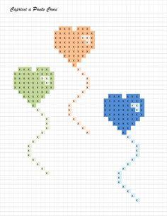 Capricci a punto croce: free palloncini baby cross stitch patterns, cross Tiny Cross Stitch, Baby Cross Stitch Patterns, Cross Stitch Bookmarks, Cross Stitch Heart, Cross Stitch Cards, Simple Cross Stitch, Hand Embroidery Patterns, Cross Stitch Designs, Cross Stitching